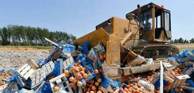 бульдозер в росії чавить санкційні продукти