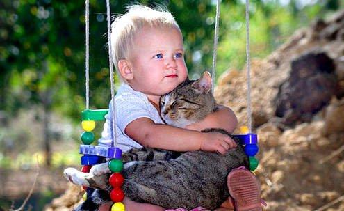 кіт та дитина